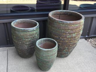 GUARACHA GREEN PLANTERS - SET OF 3