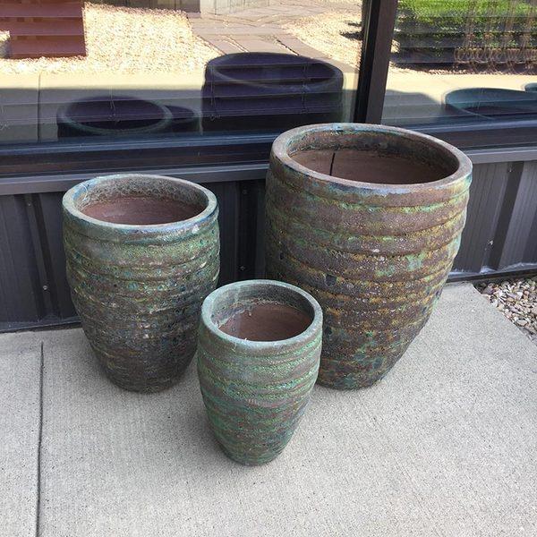 GUARACHA GREEN PLANTERS - SET OF 3