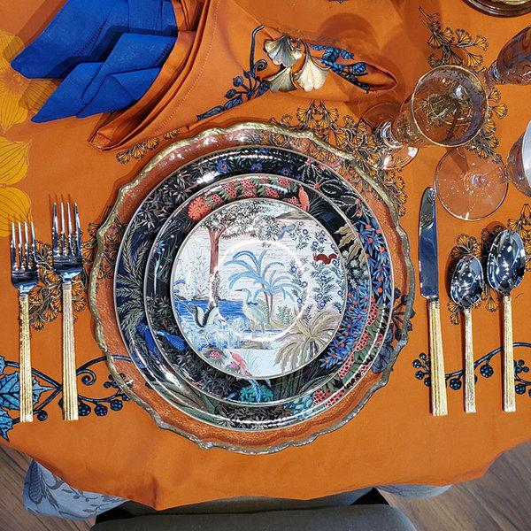 HEMSTITCHED BLUE DINNER NAPKIN