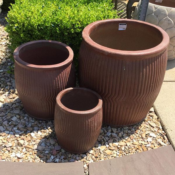 RAIN BARREL PLANTERS - SET OF 3
