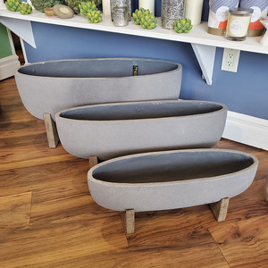OVAL PLANTERS WITH STANDS - SET OF 3