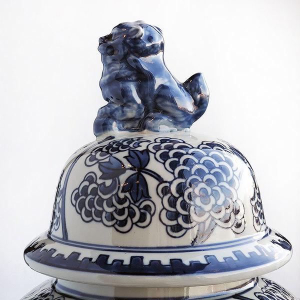 BLUE & WHITE FLORAL TEMPLE JAR