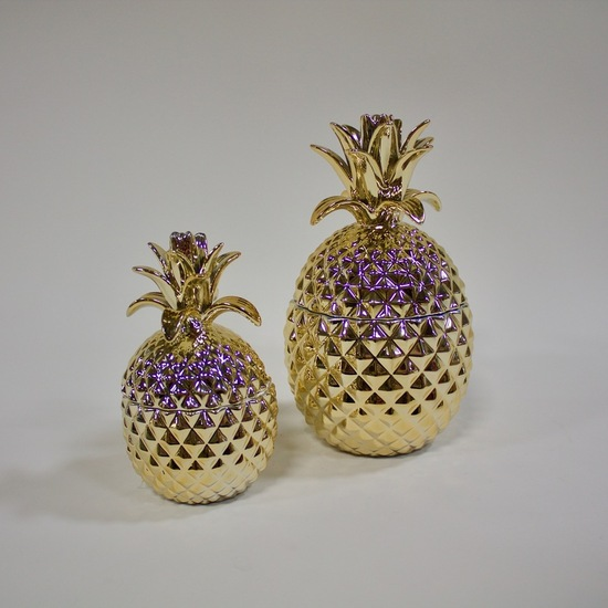 Set of 2 Golden Pineapple Jars with Lid
