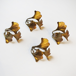 GINGKO NAPKIN RINGS - SET OF FOUR