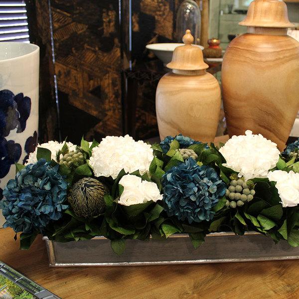 WHITE ROSES & BLUE HYDRANGEAS