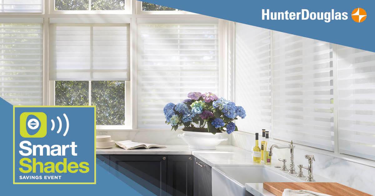 bright kitchen with white window shades
